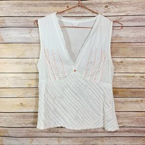 Anthropologie Snak White Beaded Sleeveless Blouse